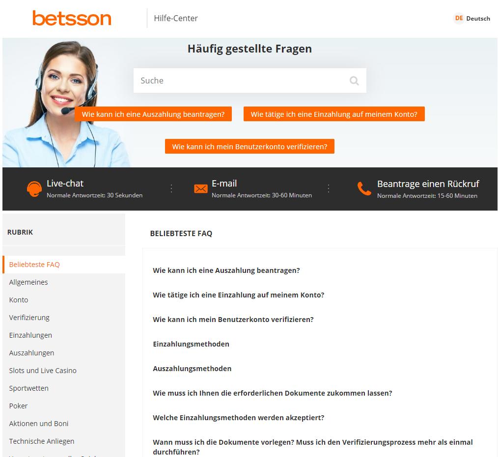 Unterstützung Online Casino Betsson | de.worldcasinoexpert.com